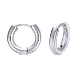 Pair earrings Man Creoles Steel 12mm 2mm