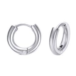 BOH0004 BOBIJOO Jewelry Par de aretes Hombre Criollos de Acero de 12 mm 2 mm