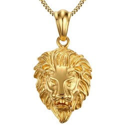 PE0050 BOBIJOO Jewelry Pendant Head of a Lion, Steel, Gold Chain