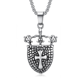 PE0076 BOBIJOO Jewelry Pendant Royal Shield Fleur de Lis Lion Cross