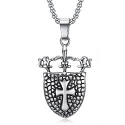 PE0076 BOBIJOO Jewelry Pendentif Royaliste Bouclier Fleur de Lys Lion Croix