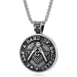 PE0082 BOBIJOO Jewelry Medallón Colgante De La Masonería Hermanos De Acero