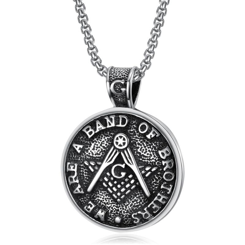 PE0082 BOBIJOO Jewelry Médaillon Pendentif Franc-Maçonnerie Brothers Acier