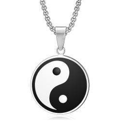 PE0083 BOBIJOO Jewelry Ciondolo Medaglia Simbolo Yin & Yang Acciaio