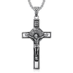 PE0094 BOBIJOO Jewelry Ciondolo, San Benedetto da Norcia Gesù sulla Croce INRI