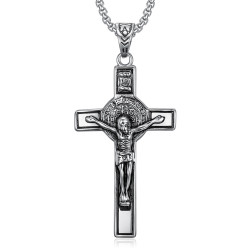 PE0094 BOBIJOO Jewelry Pendant, Saint Benedict of Nursia Jesus on Cross INRI