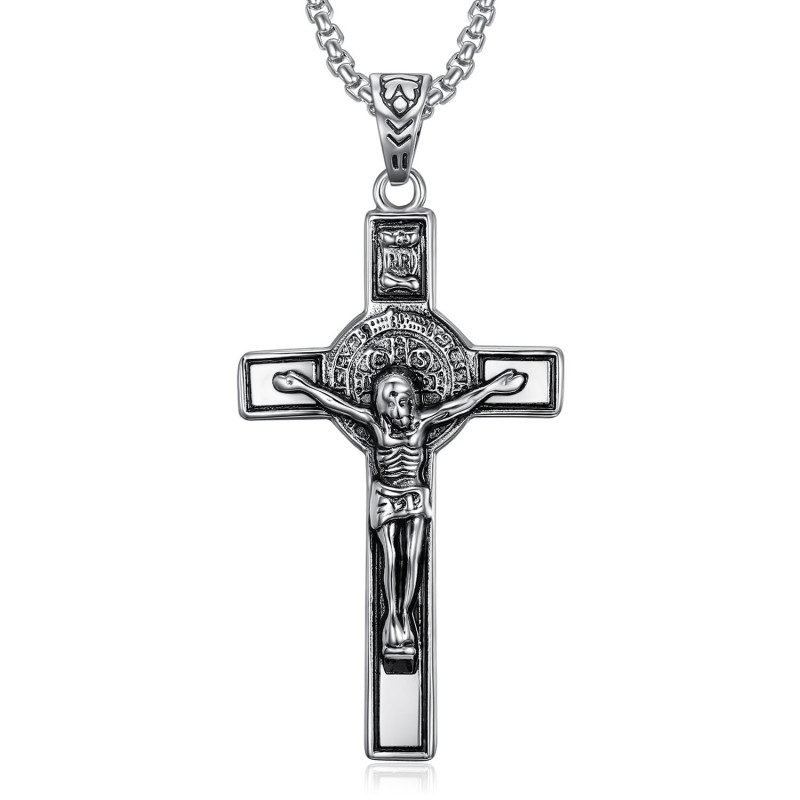 PE0094 BOBIJOO Jewelry Pendentif Saint Benoît de Nursie Jesus sur Croix INRI