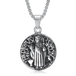 PE0101 BOBIJOO Jewelry Ciondolo Medaglione Sanctus Benedictus Acciaio