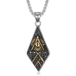 PE0109 BOBIJOO Jewelry Ciondolo Massoneria Diamante Acciaio Oro