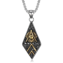 PE0109 BOBIJOO Jewelry Pendant Freemasonry Diamond Steel Gold