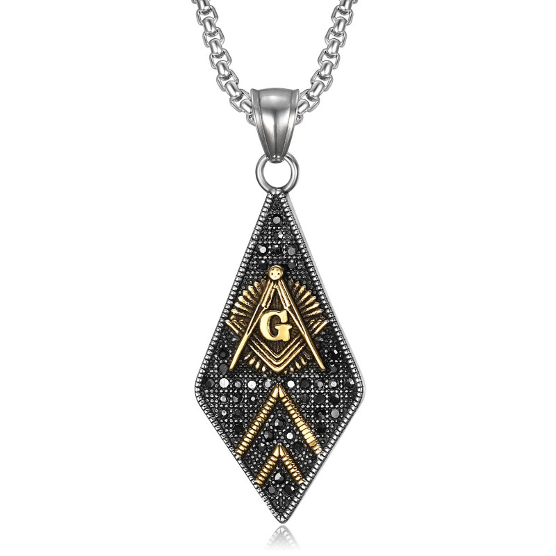 PE0109 BOBIJOO Jewelry Pendentif Franc-Maçonnerie Losange Acier Or