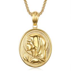 PE0112 BOBIJOO Jewelry Grand Médaillon Vierge Marie Oval Auréole Acier Or