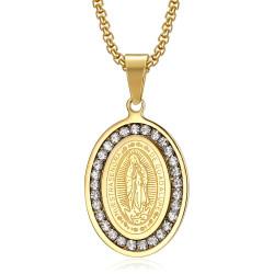 PE0115 BOBIJOO Jewelry Anhänger Medaille Unserer lieben Frau von Guadalupe Strass Gold