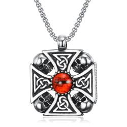PE0239 BOBIJOO Jewelry Cruz colgante de caballero Templario Celta Motorista del cráneo de la Cabeza del Cráneo