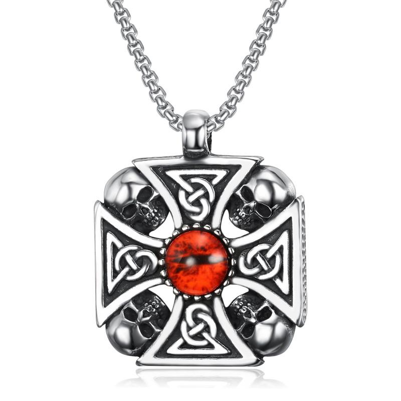 PE0239 BOBIJOO Jewelry Ciondolo croce di cavaliere Templare Celtica Biker cranio Cranio Testa