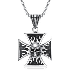PE0240 BOBIJOO Jewelry Ciondolo Biker Croce Templare Cranio cranio Fiamme