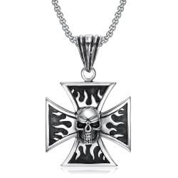 PE0240 BOBIJOO Jewelry Pendentif Biker Croix Templier Crâne Tête de Mort Flammes
