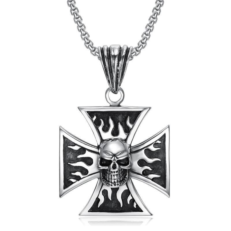 PE0240 BOBIJOO Jewelry Colgante del Motorista de la Cruz Templaria Cráneo cráneo Llamas