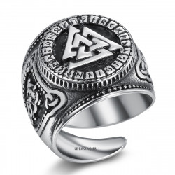 BA0282 BOBIJOO Jewelry Ring Siegelring Valknut Krieger Knoten Besiegt