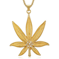 PE0145 BOBIJOO Jewelry Imposing Pendant Leaf Cannabis Rhinestone Steel Gold + Chain