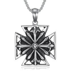 PE0167 BOBIJOO Jewelry Imposant Pendentif Templier Croix Pattée Acier Vieilli + Chaîne