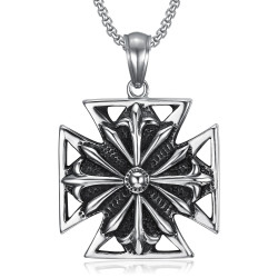 PE0167 BOBIJOO Jewelry Imposing Pendant Knight Templar Cross Pattée Steel Aged + String