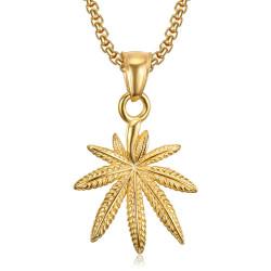 Small Leaf Pendant Cannabis Steel Gold