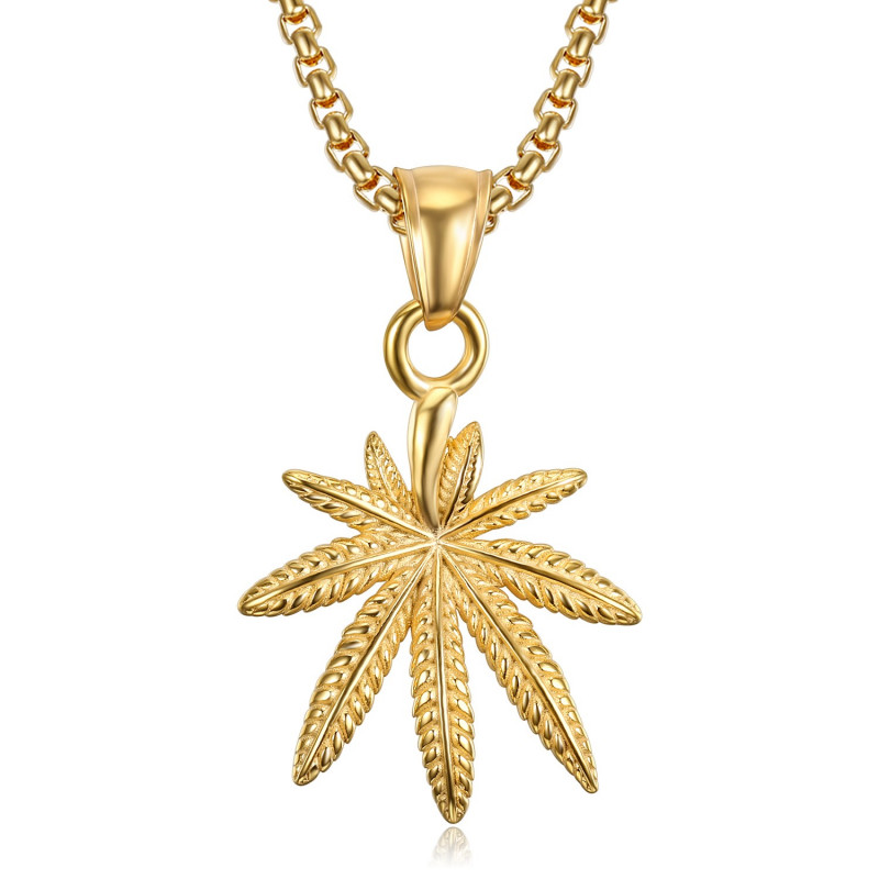 PE0242 BOBIJOO Jewelry Small Leaf Pendant Cannabis Steel Gold