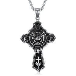 PE0241 BOBIJOO Jewelry Colgante Cruz Templaria Vintage In Hoc Signo Inces De Acero