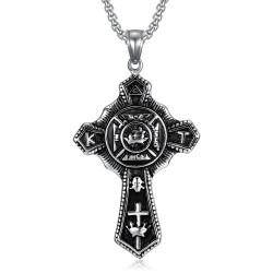 PE0241 BOBIJOO Jewelry Pendentif Templier Croix Vintage In Hoc Signo Vinces Acier