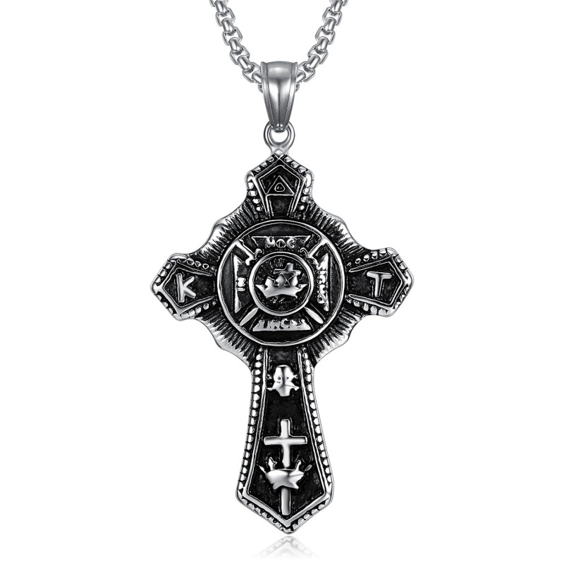 PE0241 BOBIJOO Jewelry Pendant Templar Cross Vintage In Hoc Signo Inces Steel