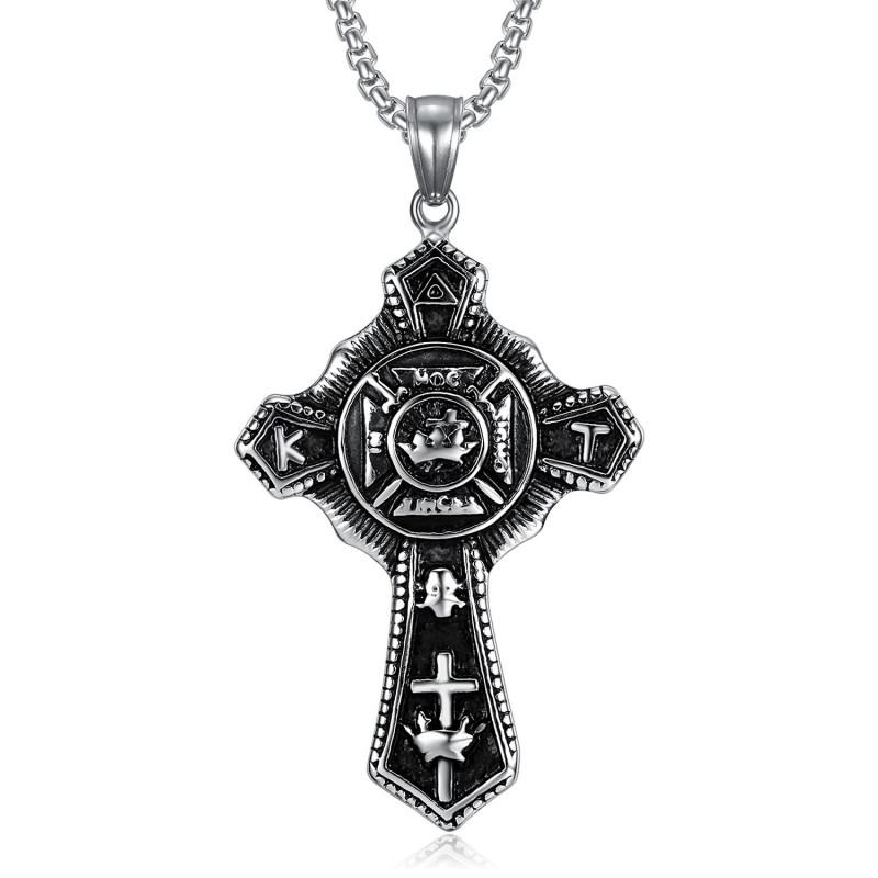 Pendentif Templier Croix Vintage In Hoc Signo Vinces Acier bobijoo