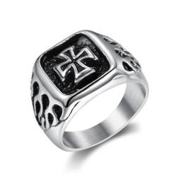 BA0353 BOBIJOO Jewelry Anillo Anillo anillo de Hombre del Motorista de la Cruz de malta en Llamas