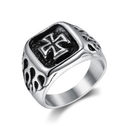 BA0353 BOBIJOO Jewelry Ring Signet ring Man Biker maltese Cross Flaming