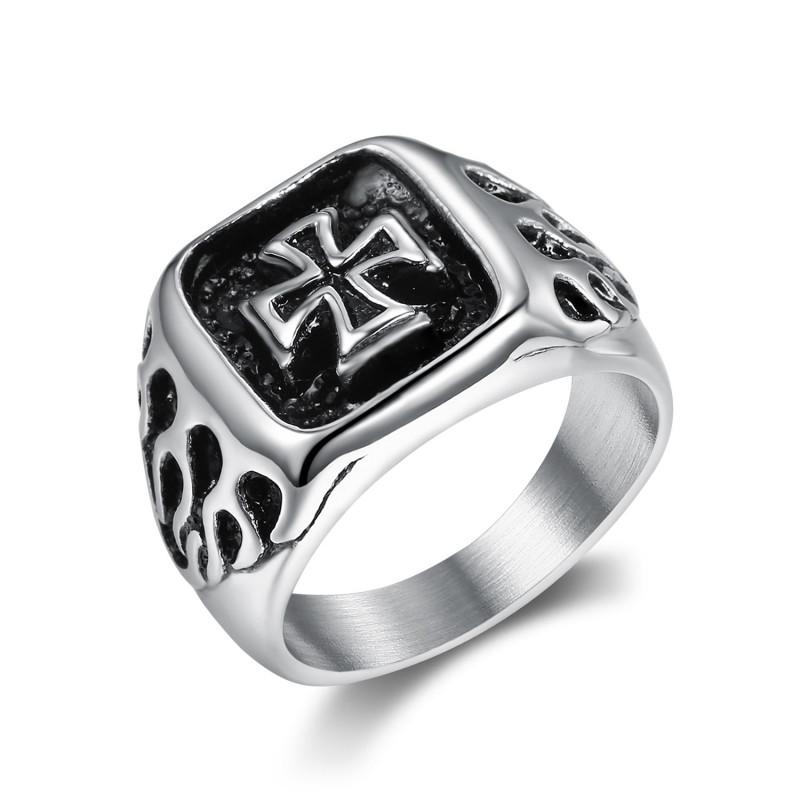 BA0353 BOBIJOO Jewelry Ring Signet ring Man Biker maltese Cross Flaming