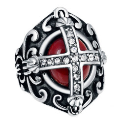 BA0354 BOBIJOO Jewelry Ring Signet ring Man Red Royalist and Diamonds