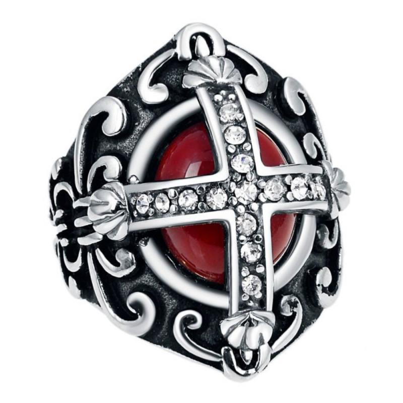Bague Chevalière Homme Rouge Royaliste et Diamants bobijoo