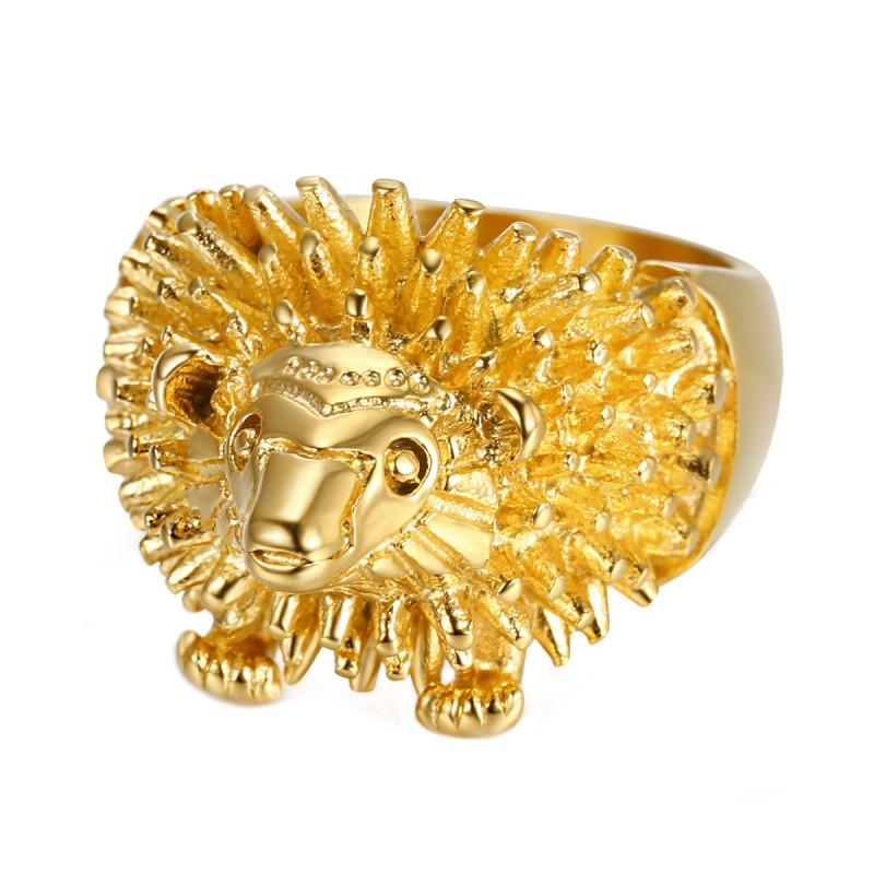BA0355 BOBIJOO Jewelry Ring Siegelring Mannes Kopf, Igel Niglo Reisenden Gold