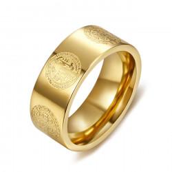 BA0357 BOBIJOO Jewelry Anello Anello di Alleanza, San Benedetto di Protezione in Oro 8mm
