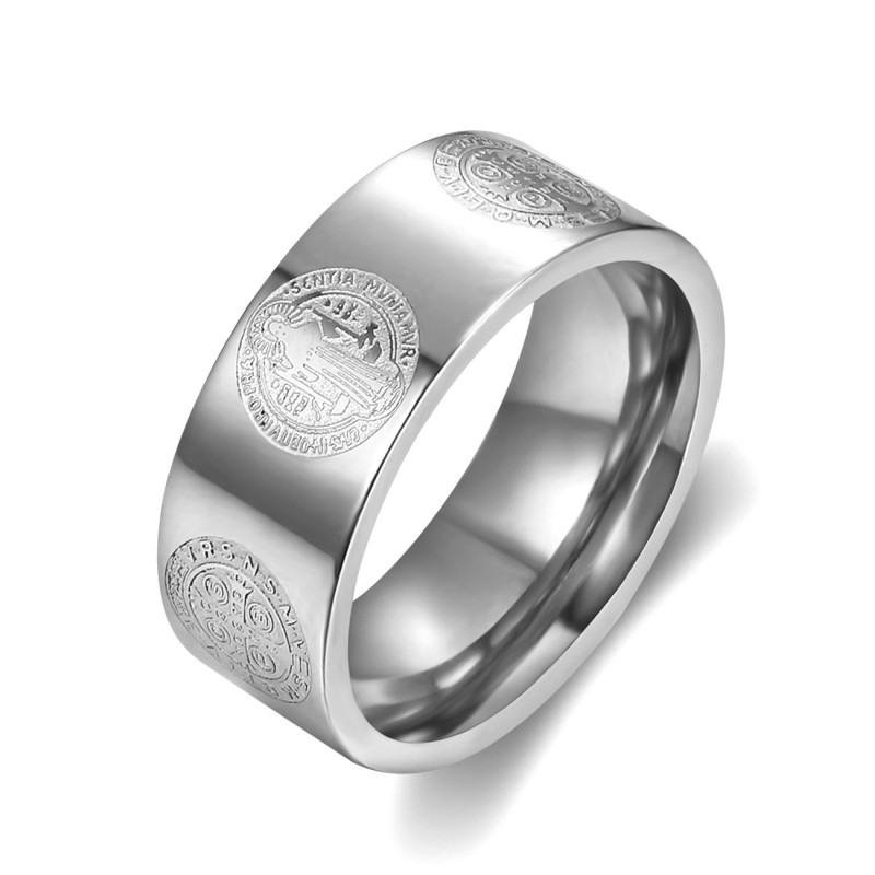 BA0358 BOBIJOO Jewelry Anello Anello di Alleanza San Benedetto Protezione 8mm