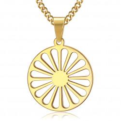 PE0244 BOBIJOO Jewelry Colgante de la Rueda de los Viajeros de la Bandera de los Gitanos de Oro