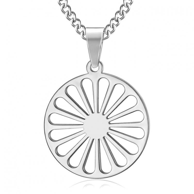 PE0245 BOBIJOO Jewelry Colgante de la Rueda de los Viajeros de la Bandera de los Gitanos
