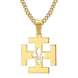 PE0246 BOBIJOO Jewelry Anhänger Scout Frankreich Kreuz Potencée Fleur de Lys Gold