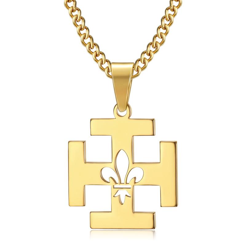 PE0246 BOBIJOO Jewelry Colgante de Scouts de Francia Potente de la Cruz Fleur-de-Lys Oro