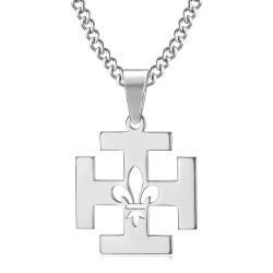 PE0247 BOBIJOO Jewelry Anhänger Scout Frankreich Kreuz Potencée Fleur-de-Lys
