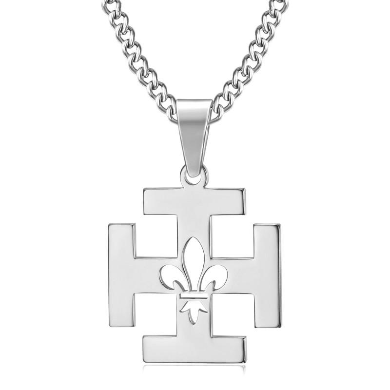 PE0247 BOBIJOO Jewelry Pendant Scout France Potent Cross Fleur-de-Lys