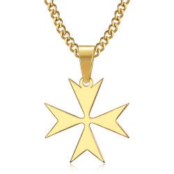 PE0250 BOBIJOO Jewelry Pendentif Croix de Malte St JeanTemplier Biker Or