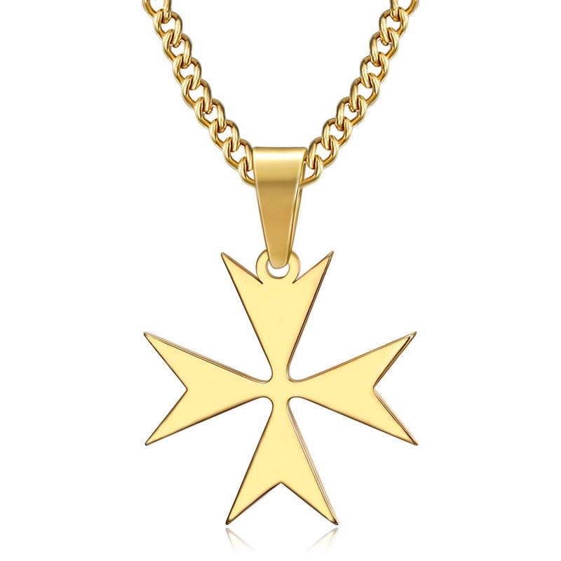 PE0250 BOBIJOO Jewelry Colgante de la Cruz de Malta St JeanTemplier Ciclista de Oro
