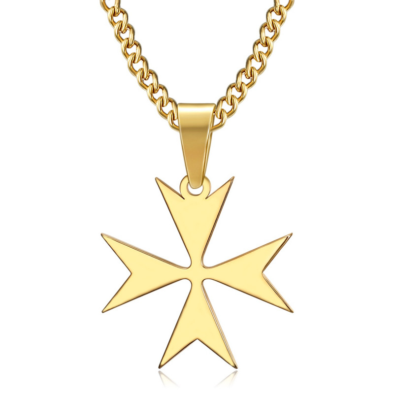 PE0250 BOBIJOO Jewelry Pendant Cross of Malta St JeanTemplier Biker Gold