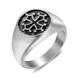 BA0241 BOBIJOO Jewelry Siegelring Ring das Okzitanische Kreuz des Languedoc-Stahl-Silber